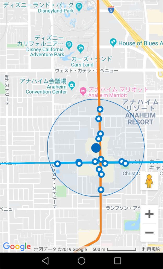 ディズニー アナハイム OCTA バス停 検索
