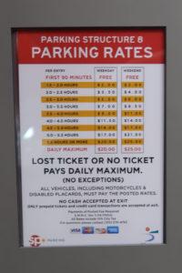 サンタモニカビーチ駐車場 料金表