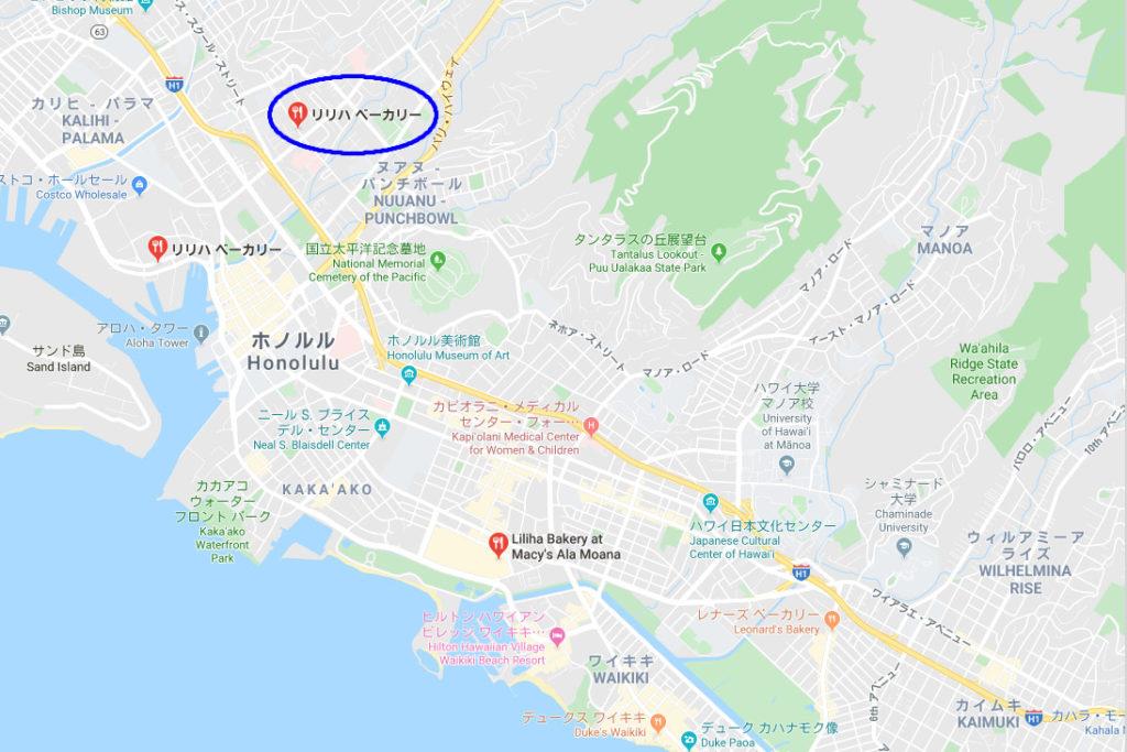 リリハベーカリー1号店地図
