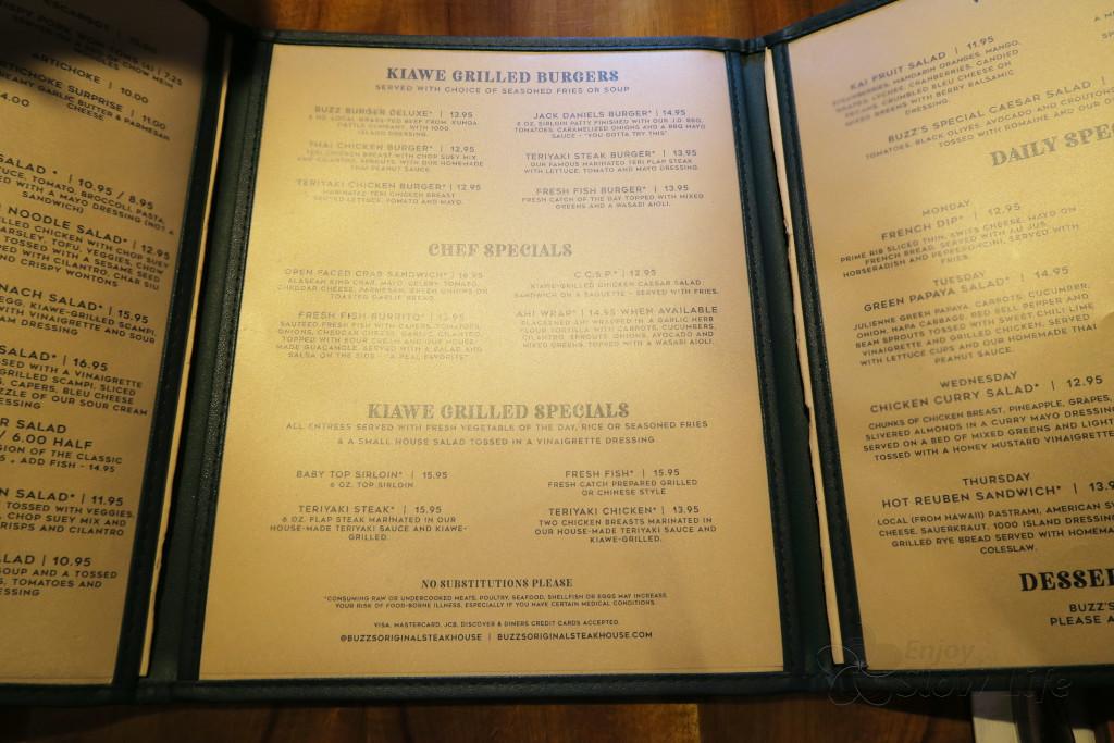 Buzz's menu